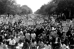 The Rev. Martin Luther King Jr. at the center of the March on Washington, Aug. 28, 1963. Protesters lobbied for voting rights and an end to segregation and discrimination.