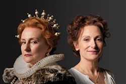 "Seana McKenna, left, portrays Queen Elizabeth I and Lucy Peacock is Mary Queen of Scots, in the Stratford Festival's production of ""Mary Stuart."""