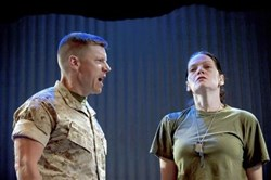 "Michael Fuller, left, and Marie Elena O'Brien in ""Soldier's Heart,"" a Tammy Ryan-penned play having its premiere at Playhouse Rep in Oakland."