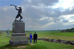 A statue honoring the 72nd Pennsylvania Infantry (seen above in 2005) was blown off its granite base earlier this week at Gettysburg National Military Park in Gettysburg, Pa. The representation of a Union soldier is 7 feet high, 1,500 pounds and made of bronze.