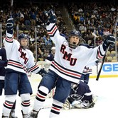 Robert Morris' Cody Wydo celebrates after scoring against Penn State in the Three Rivers Classic at Consol Energy Center.