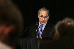 Former FBI director Louis Freeh speaks during a news conference in Philadelphia in 2012.