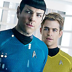 "Spock and Kirk Zachary Quinto and Chris Pine reprise their roles as Spock and Kirk in ""Star Trek Into Darkness."""