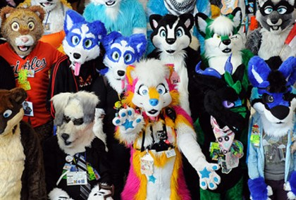 The furries gather for a group photo at their convention downtown in 2013.
