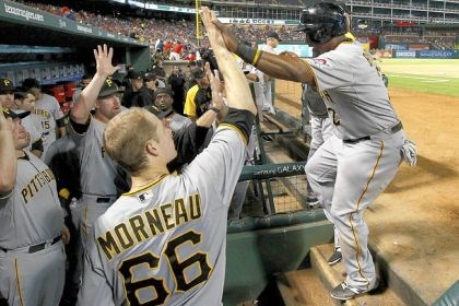 3030 pirates The Pirates' Marlon Byrd, right, is congratulated in the dugout after scoring a run against the Texas Rangers in September. After 20 straight losing seasons, the Pirates in 2013 earned a winning season and playoff spot.