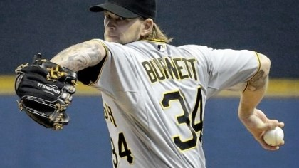 A.J. Burnett Pirates starting pitcher A.J. Burnett gave up two runs in seven innings and struck out six Friday against the Brewers in Milwaukee.