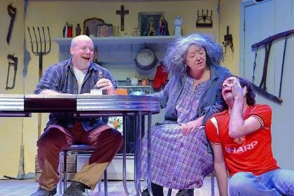 "'A Skull in Connemara' James Keegan portays Mick, Sharon Brady is Maryjohnny and Alec Silberblatt is Mairtin in the Pittsburgh Irish & Classical Theatre production of Martin McDonagh's ""A Skull in Connemara."""
