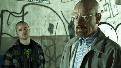 "Aaron Paul and Bryan Cranston Jesse (Aaron Paul) and Walter (Bryan Cranston) return Sunday in ""Breaking Bad."""