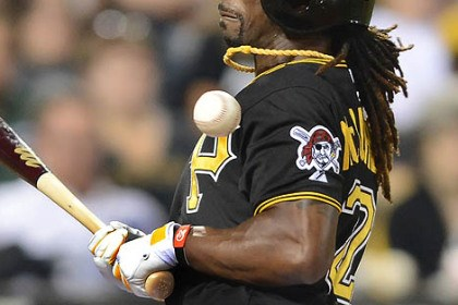 Andrew McCutchen Andrew McCutchen is hit by Reds pitcher Sam LeCure in the eighth inning Friday at PNC Park.