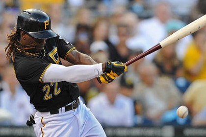 Andrew McCutchen Pirates' Andrew McCutchen drives in a run with a single against the Brewers in the second inning.