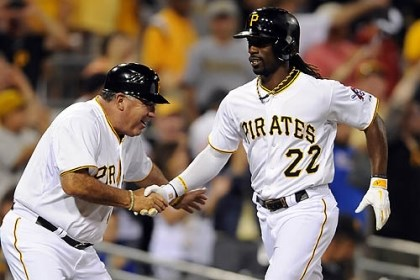 Andrew McCutchen and Nick Leyva The Pirates' Andrew McCutchen is congratulated by third base coach Nick Leyva after hitting a two-run home run against the Cardinals in the fifth inning of the second game of a double header at PNC Park Tuesday night.