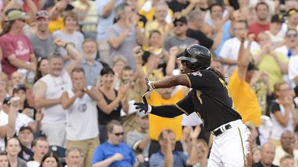 Andrew McCutchen makes Zoltan sign Andrew McCutchen makes the sign of Zoltan after hitting triple.