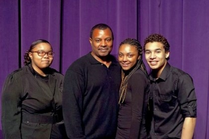 August Wilson Monologue winners Actor Montae Russell, second from left, served as a judge for this year's August Wilson Monologue Competition. Themb'isile Gxuluwe, left, won the contest, with Tamiya Martin as runner-up and Shamari Nevers as second runner-up.