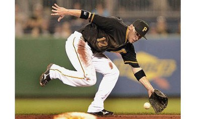 Barmes Pirates shortstop Clint Barmes can not catch up to ball hit up the middle by the Cardinals starting pitcher Kyle Lohse for a single Monday at PNC Park.