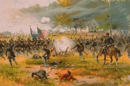 """Battle of Antietam"" ""Battle of Antietam"" by Thure de Thulstrup, circa 1887."