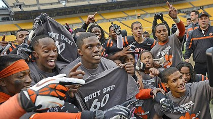 bears celebrate The Clairton Bears celebrate their state-record-breaking 60th consecutive victory after defeating Sto-Rox, 58-21, to take home the WPIAL Class A championship Friday at Heinz Field.