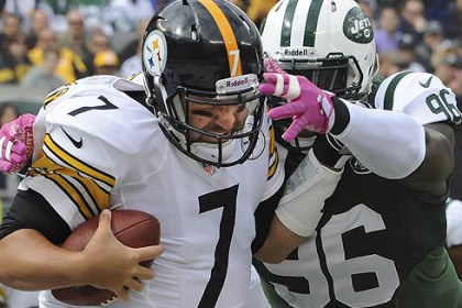 Ben Rothlisberger New York Jets defensive end Muhammad Wilkerson sacks Steelers quarterback Ben Rothlisberger in the first quarter.
