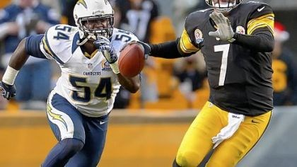 BenChargers.jpg Steelers quarterback Ben Roethlisberger gets pressured by Chargers linebacker Melvin Ingram in Sunday's 34-24 loss.