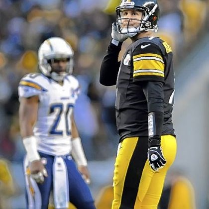 BenChargers1,jpg Steelers quarterback Ben Roethlisberger looks back after throwing an interception to the Chargers in the fourth quarter Sunday at Heinz Field.