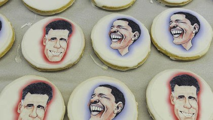 Bethel Bakery Edible paper with caricatures of the presidential candidates to shortbread cookies at Bethel Bakery in Bethel Park on Wednesday.