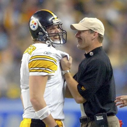 bigben In January 2006, Steelers quarterback Ben Roethlisberger and coach Bill Cowher savor the final seconds of the team's fifth Super Bowl win, a 21-10 win over the Seattle Seahawks in Detroit.