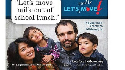 "Billboard Billboard showing Stanton Heights resident Leah Lizarondo-Shannon, her husband Bill Shannon and their two children saying ""Let's move milk out of school lunch."""