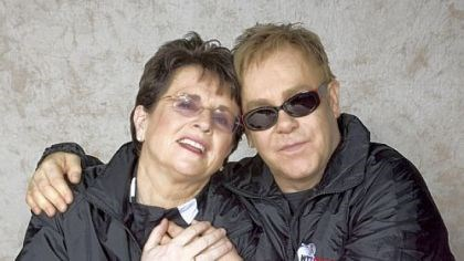 Billie Jean King and Elton John Billie Jean King and Sir Elton John embrace backstage before a WTT Smash Hits event.
