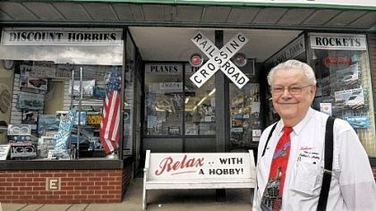 Bob Mehler Bob Mehler, owner of Esther's Hobby Shop, stands in front of the entrance to his hobby shop.