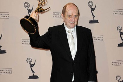"Bob Newhart Bob Newhart hoists his Emmy Award for outstanding guest actor in a comedy series for ""The Big Bang Theory"" at the Primetime Creative Arts ceremony Sunday in L.A."