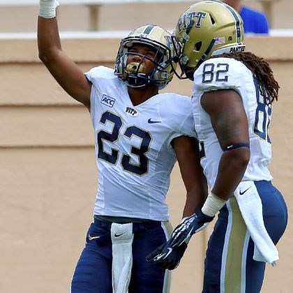 boyd Pitt receiver Tyler Boyd celebrates with tight end Manasseh Garner after Boyd scored a touchdown against Duke Saturday.