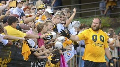 Brett Keisel Steelers defensive lineman Brett Keisel waves to the fans as he makes his way to the field before the start of workouts Friday at Steelers training camp at Saint Vincent College near Latrobe.