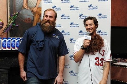 "Brett Keisel Steelers defensive end Brett Keisel reveals Los Angeles Angels pitcher C.J. Wilson as new ""Mane Man"" during a Super Bowl media event on Wednesday in New Orleans."