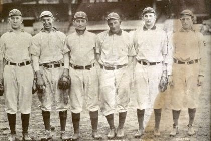 bucs1 Twenty-three years after moving from the American Association to the National League, the Pirates in 1909 won their first World Series. Pirates legend Honus Wagner, third from right, led the team as they beat the Detroit Tigers in seven games.