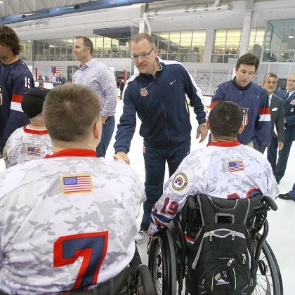 bylsma Dan Bylsma and United States hockey team candidates meet members of the Wounded Warrior Project Tuesday at the team's camp in Arlington, Va.