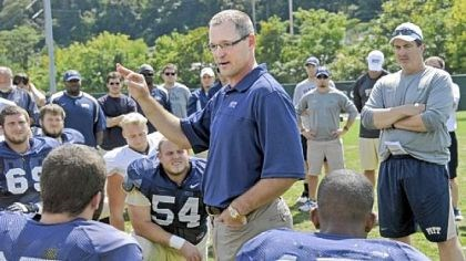 Bylsma Penguins coach Dan Bylsma talks to the Pitt football team at the beginning of practice Tuesday on the South Side.