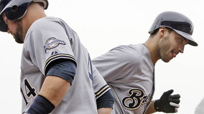 Casey McGehee and Ryan Braun Brewers outfielder Ryan Braun, right, is greeted by teammate Casey McGehee (14) after hitting a first-inning solo home run off Pirates pitcher Paul Maholm.