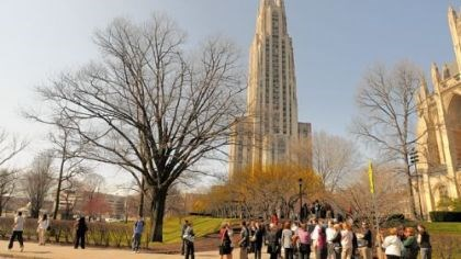 Cathedral of Learning People wait along South Bellefield Avenue in March after being evacuated from the Cathedral of Learning at the University of Pittsburgh because of a bomb threat, one of many that had interrupted classes for months.