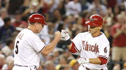 Chip Hale and Gerardo Parra Diamondbacks outfielder Gerardo Parra, right, gets a high five from third base coach Chip Hale after hitting a two-run home run in the fifth inning.