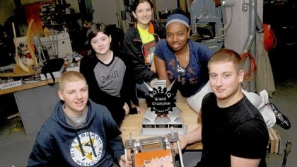 Clairton Clairton High School students Zach Loera, Amanda Gillespie, Eliza Sopka, Bianca Pulliam and Garrett Santoline hope to raise $5,000 to compete at the national robotics competition in Indianapolis next weekend.