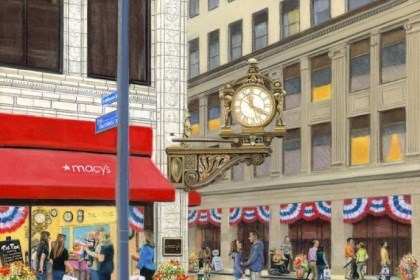 Clock Local artist Linda Barnacott has produced this image of the Kaufmann's Clock for its 100th anniversary celebration.