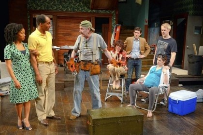 "'Clybourne Park' Cast members chandra thomas, Bjorn DuPaty, Brad Bellamy, Lynne Wintersteller, Jared McGuire, Megan Hill and Tim McGeever rehearse for Pittsburgh Public Theater's production of ""Clybourne Park."""