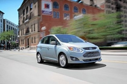 cmax The 2013 Ford C-MAX Hybrid is rated at 47 mpg. Mileage did vary, averaging just about 38 in a weekend-long test.