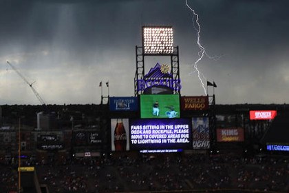 Coors Field game delay Lightning stikes as a storm cell delays the start of the game between the Pirates and the Rockies at Coors Field.