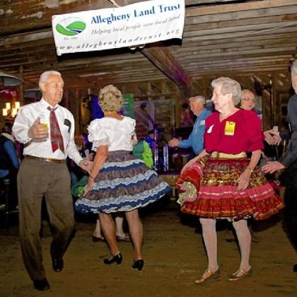 Dancing Square Dancing at Bounty in the Barn, Allegheny Land Trust event.