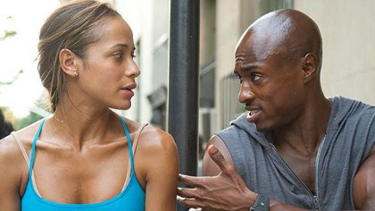 "Dania Ramirez and Wole Parks Dania Ramirez and Wole Parks portray bike messengers who zip through the streets of New York in ""Premium Rush."""