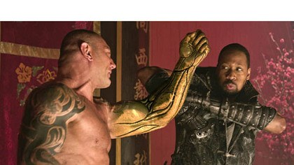 "Dave Bautista and RZA Dave Bautista, left, and RZA star in ""The Man With the Iron Fists,"" an action-adventure inspired by kung-fu classics. Russell Crowe and Lucy Liu are also in the movie, which opens Nov. 2."