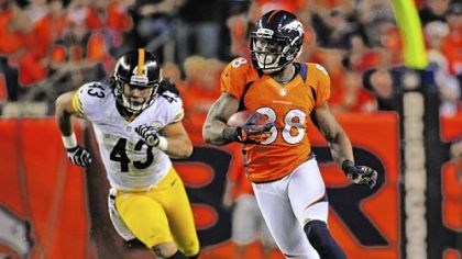 Deja Vu Broncos receiver Demaryius Thomas carries the ball ahead of Troy Polamalu for a 71-yard touchdown in the third quarter Sunday in Denver.