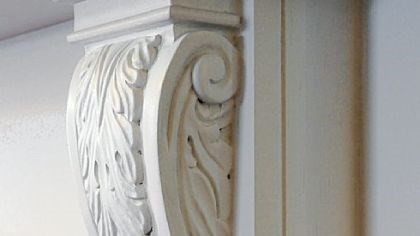 Details from a fireplace mantel. Details from a fireplace mantel.
