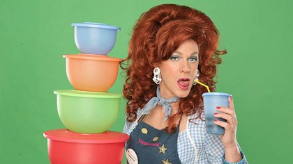"'Dixie's Tupperware Party' Dixie Longate (aka Kris Andersson) is as colorful as her products in ""Dixie's Tupperware Party."""