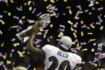 Ed Reed Ravens safety Ed Reed holds the Vince Lombardi Trophy after defeating the 49ers, 34-31, in the Super Bowl Sunday in New Orleans.